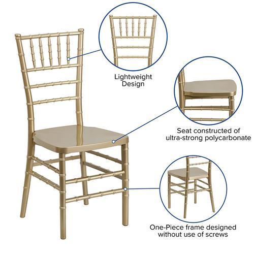 Flash Furniture - HERCULES PREMIUM Series Gold Resin Stacking Chiavari Chair