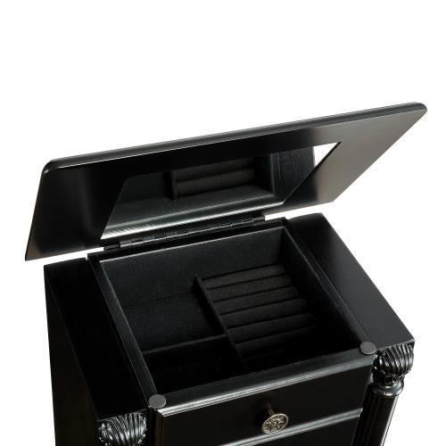 5-drawer Jewelry Armoire, Distressed Ebony Black