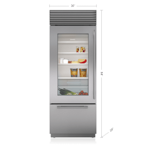 "Sub-Zero30"" Classic Over-and-Under Refrigerator/Freezer with Glass Door"