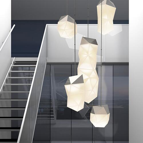 Sonneman - A Way of Light - Facets LED Pendant [Size=3-Light Assorted, Color/Finish=Satin Nickel]