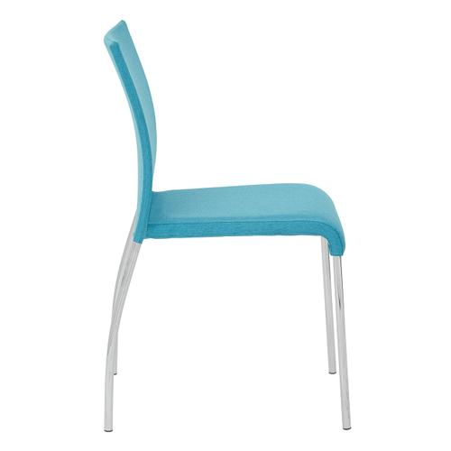 Conway Stacking Chair In Aqua Fabric, Fully Assembled, 4-pack