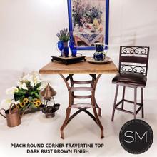 """See Details - Travertine Modern Bar Table  Peach  Square  Wrought Iron-1244E - 36""""X36 / Peach Bullnose / Dark Rust Brown"""