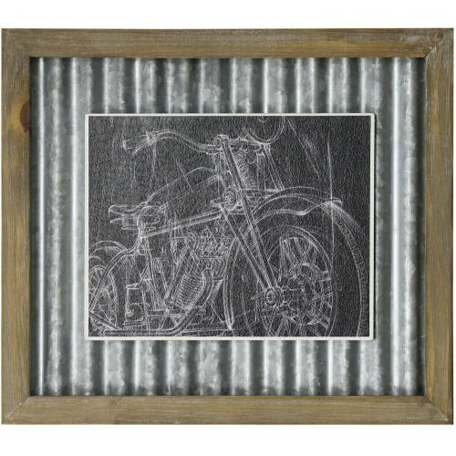 Style Craft - MOTORCYCLE SKETCH I  14in X 16in  Made in the USA  Textured Framed Print