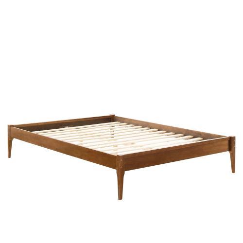 June King Wood Platform Bed Frame in Walnut
