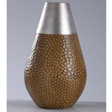 17.75 x 11 Poly Vase in SANTA MARIA w Faux Brshd Stl Cap