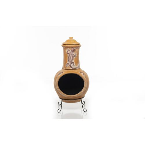 Earthenware 2 pc Large Gecko Chiminea w/ lid + stand
