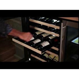24-In Built-In High Efficiency Single Zone Wine Refrigerator with Door Style - Stainless Steel Frame Glass, Door Swing - Left