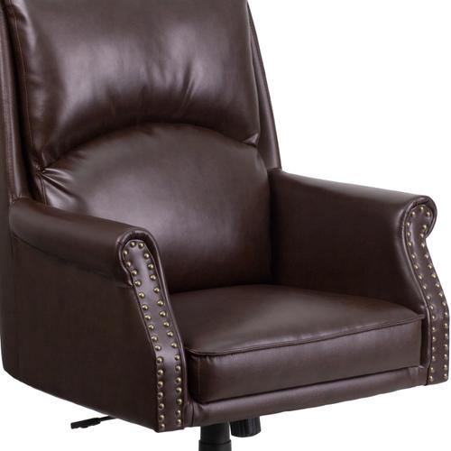 Gallery - High Back Pillow Back Brown LeatherSoft Executive Swivel Office Chair with Arms