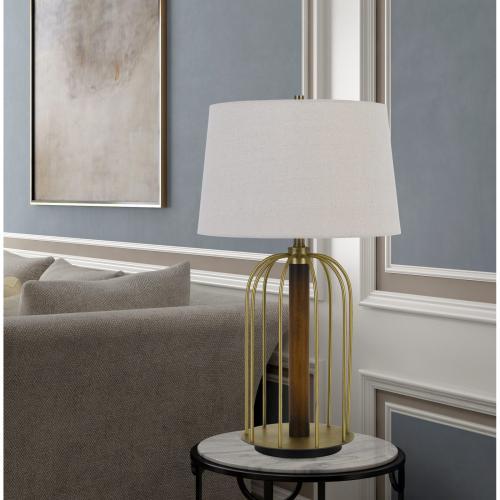 Sevran 150W 3 Way Rubber Wood/Metal Table Lamp