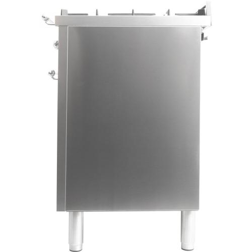 Product Image - Nostalgie 40 Inch Dual Fuel Natural Gas Freestanding Range in Stainless Steel with Chrome Trim