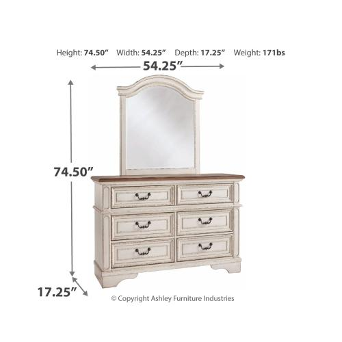 Full Panel Bed With Mirrored Dresser and Chest