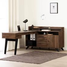 L-Shaped Desk with Power Bar and Removable Hutch - Natural Walnut