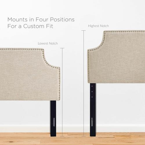 Laura King Upholstered Fabric Headboard in Beige