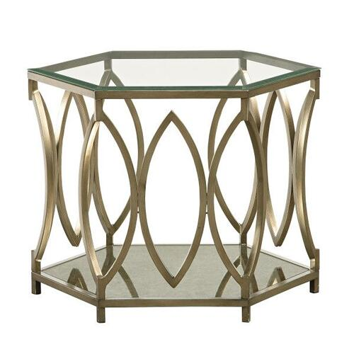 Santa Barbara Hexagonal Coffee Table, Glass Top with Metal Base
