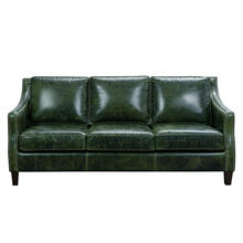 See Details - Miles Top Grain Leather Sofa in Fescue Green