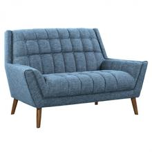 Armen Living Cobra Mid-Century Modern Loveseat in Blue Linen and Walnut Legs