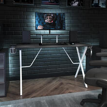 See Details - Black Gaming Desk and White Frame with Cup Holder, Headphone Hook, and Monitor\/Smartphone Stand