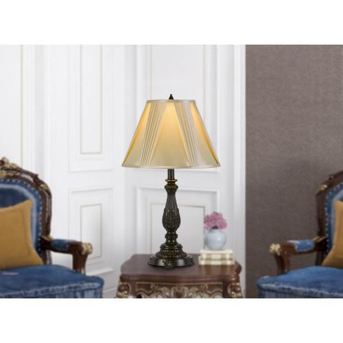 100W Kerry Aluminum Casted Table Lamp With Softback Fan Pleated Faux Silk Shade