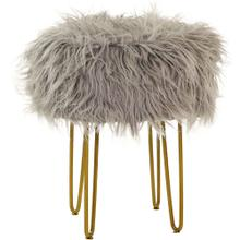 View Product - Gray Faux-Fur Vanity Stool with Gold Base