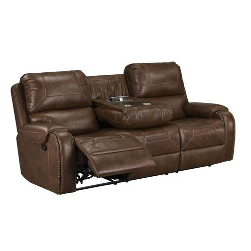 Winslow Manual Motion Reclining Sofa with USB Charger, Brown