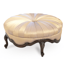 Wood Trim Round Cocktail Ottoman - Opt1