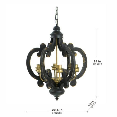 A & B Home - 6-Lights Black Chandelier