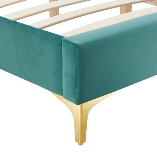 Sutton King Performance Velvet Bed Frame in Teal