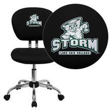 Lake Erie College Storm Embroidered Black Mesh Task Chair with Chrome Base
