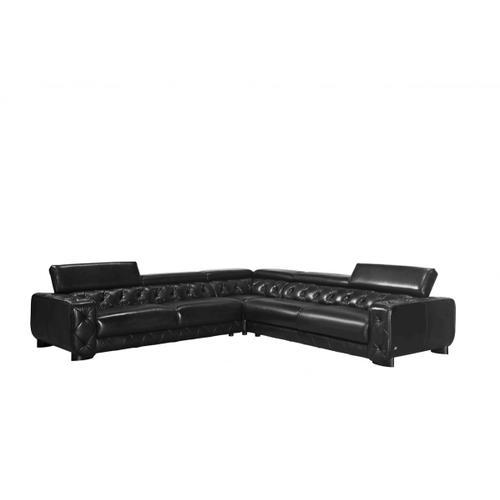 Divani Casa Lyon Modern Black Italian Leather Sectional Sofa