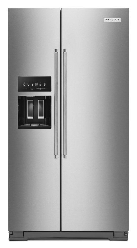 Kitchenaid19.9 Cu Ft. Counter-Depth Side-By-Side Refrigerator With Exterior Ice And Water And Printshield™ Finish - Stainless Steel With Printshield™ Finish