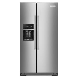 KITCHENAID19.9 cu ft. Counter-Depth Side-by-Side Refrigerator with Exterior Ice and Water and PrintShield(TM) finish - Stainless Steel with PrintShield(TM) Finish
