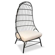 See Details - HULL CHAIR  Linen Fabric on Black Finish on Metal Frame