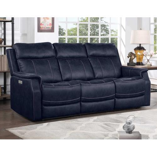 Gallery - Valencia 3-Piece Dual-Power Ocean Blue Reclining Set (Sofa, Loveseat & Chair)