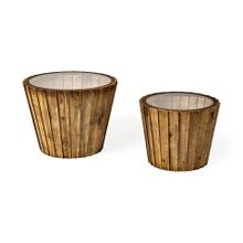 See Details - John Paul (Set of 2) 25L x 25W Brown Wood W/ Glass Accent Tables