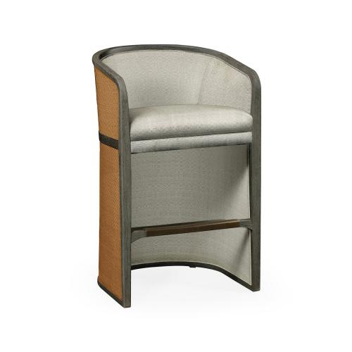 Grey & Tan Rattan Tub Bar Stool, Upholstered in Standard Outdoor Fabric