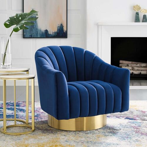 Buoyant Vertical Channel Tufted Accent Lounge Performance Velvet Swivel Chair in Navy