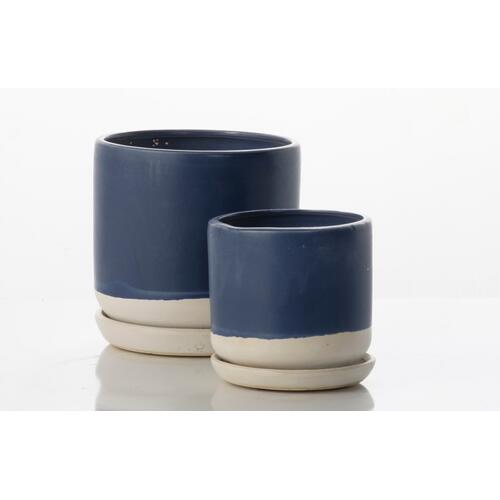 Alfresco Home - Barca Carved Petits Pots w/ attached saucer - White and Blue (set of 2)