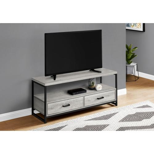 "TV STAND - 48""L / GREY / BLACK METAL"