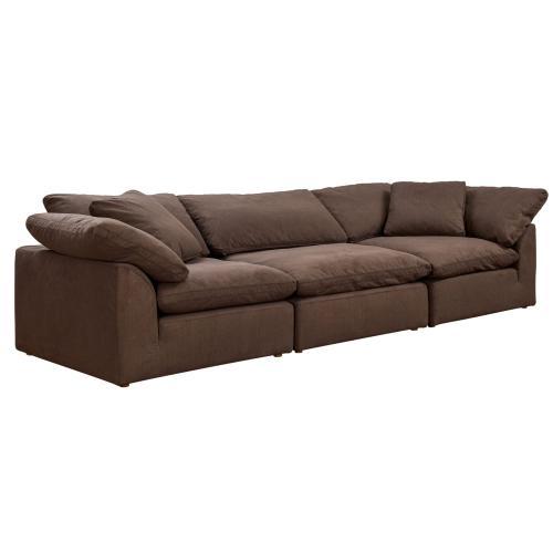 Cloud Puff Slipcovered Modular Sectional Sofa (3 Piece)