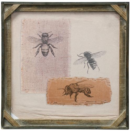 Style Craft - Bees II  Textured Framed Print  20in X 20in