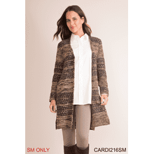 Calico Knit Long Cardigan - S/M (3 pc. ppk.)