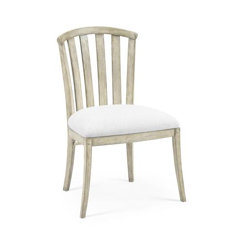 White Wash Driftwood Tub Side Chair, Upholstered in COM