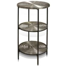AXEL 3 TIER TABLE  15in w. X 31in ht. X 15in d.  Three Tier Metal Round Side Table with Nickel Pla