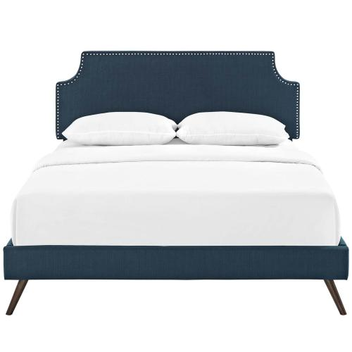 Modway - Corene King Fabric Platform Bed with Round Splayed Legs in Azure