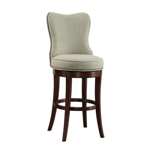 "Nailhead Trim Upholstered 30"" Swivel Barstool in Natural Beige"