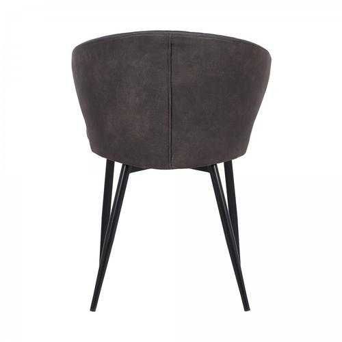 Ava Contemporary Dining Chair in Black Powder Coated Finish and Grey Faux Leather