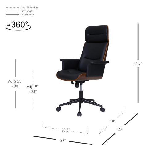 Product Image - Wade KD PU Office Chair, Black/Walnut