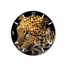 Leopard In Black Background Round Square Acrylic Wall Clock