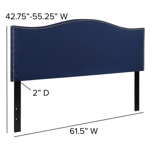 Flash Furniture - Lexington Upholstered Queen Size Headboard with Accent Nail Trim in Navy Fabric