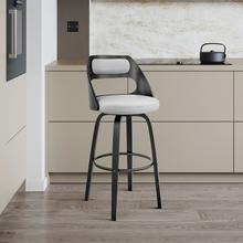 """View Product - Julius 30"""" Grey Faux Leather and Black Wood Bar Stool"""